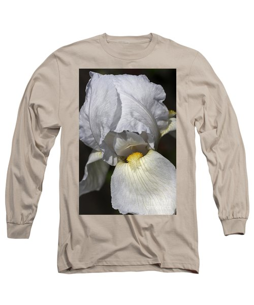 Long Sleeve T-Shirt featuring the photograph White Iris by Joy Watson