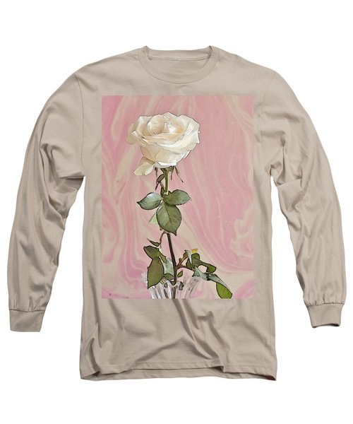 Long Sleeve T-Shirt featuring the photograph White Long Stemmed Rose by Sandra Foster