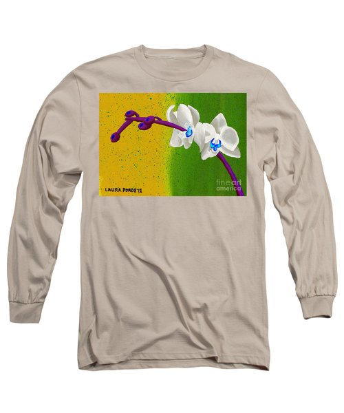White Orchids On Yellow And Green Long Sleeve T-Shirt by Laura Forde