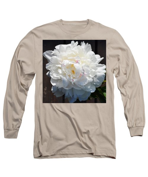 White Peony Long Sleeve T-Shirt by Tine Nordbred