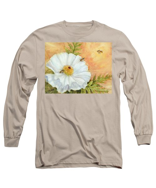 White Poppy And Bees Long Sleeve T-Shirt
