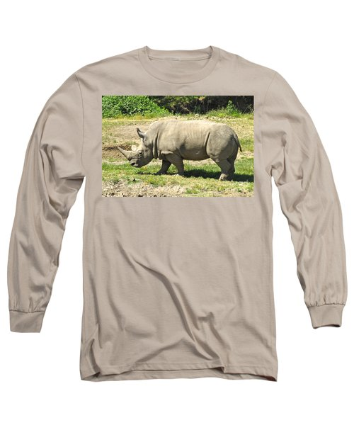 White Rhinoceros Grazing Long Sleeve T-Shirt