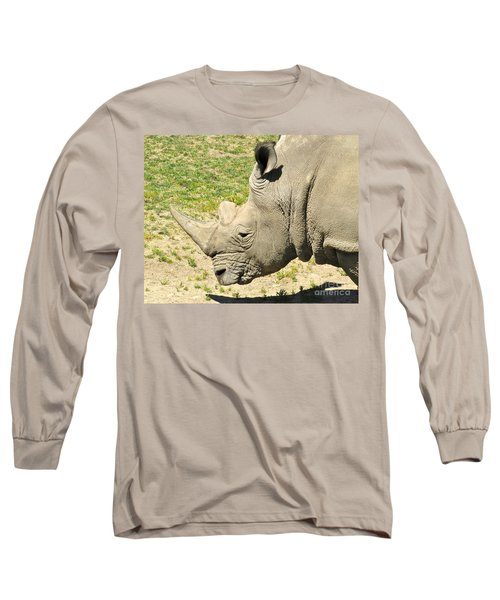 White Rhinoceros Portrait Long Sleeve T-Shirt by CML Brown