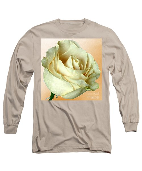 Long Sleeve T-Shirt featuring the photograph White Rose On Sepia by Nina Silver