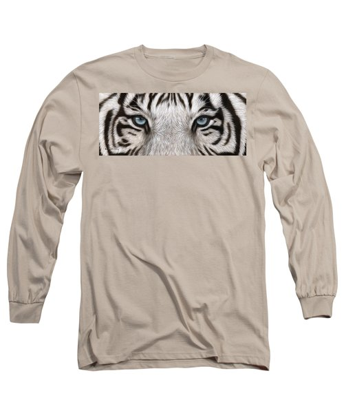 White Tiger Eyes Painting Long Sleeve T-Shirt