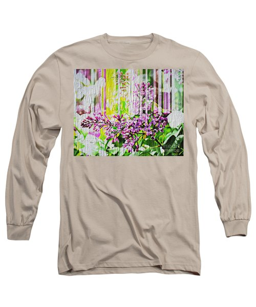 Long Sleeve T-Shirt featuring the photograph White Washed Painted Lilac by Judy Palkimas