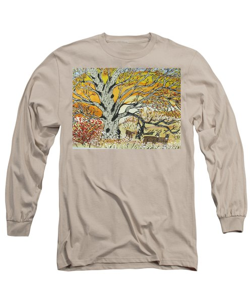 Long Sleeve T-Shirt featuring the painting Whitetails And White Oak Tree by Jeffrey Koss