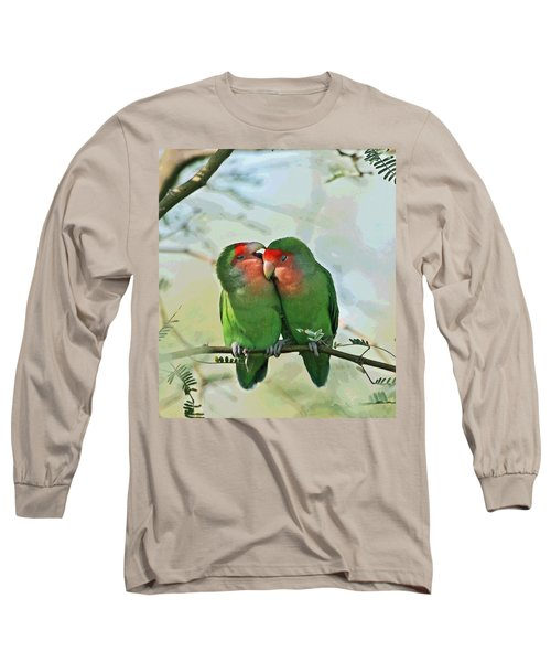 Wild Peach Face Love Bird Whispers Long Sleeve T-Shirt by Tom Janca