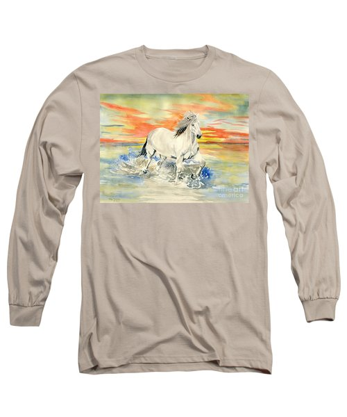 Wild White Horse Long Sleeve T-Shirt by Melly Terpening