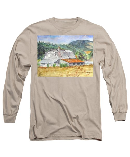 Long Sleeve T-Shirt featuring the painting Willamette Valley Barn by Carol Flagg