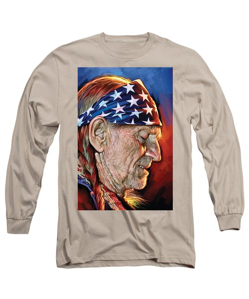 Long Sleeve T-Shirt featuring the painting Willie Nelson Artwork by Sheraz A