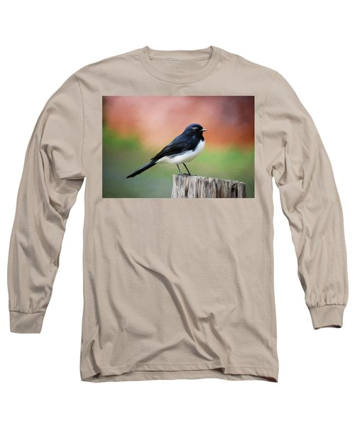 Willy Wagtail Austalian Bird Painting Long Sleeve T-Shirt