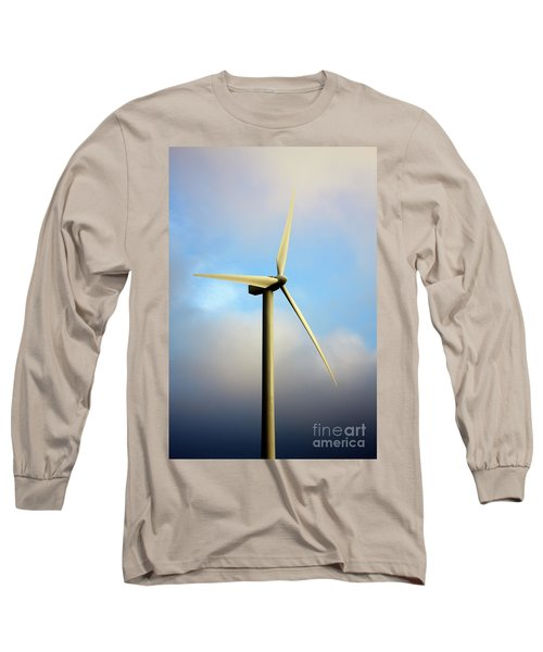 Windmill Dark Blue Sky Long Sleeve T-Shirt