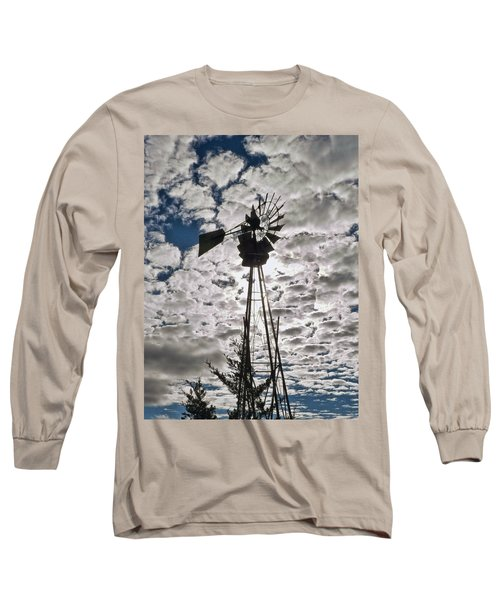 Long Sleeve T-Shirt featuring the digital art Windmill In The Clouds by Cathy Anderson