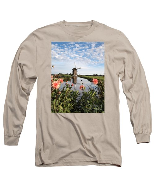 Windmill Landscape In Holland Long Sleeve T-Shirt by IPics Photography