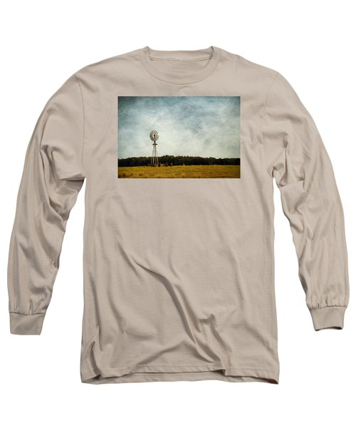 Windmill On The Farm Long Sleeve T-Shirt by Beverly Stapleton