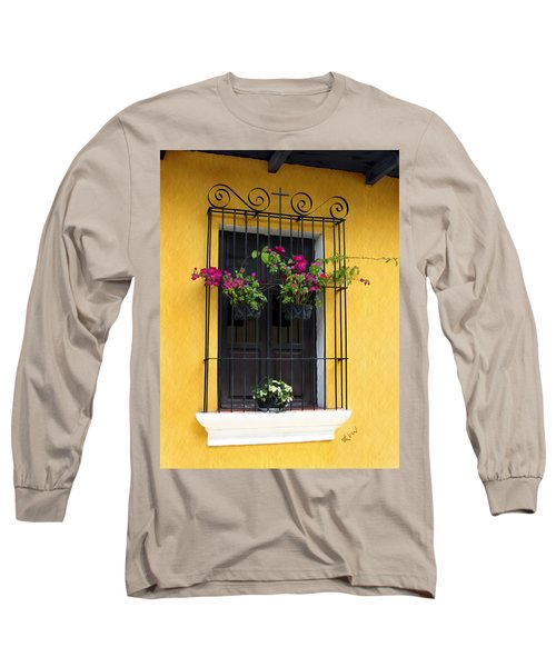 Window At Old Antigua Guatemala Long Sleeve T-Shirt