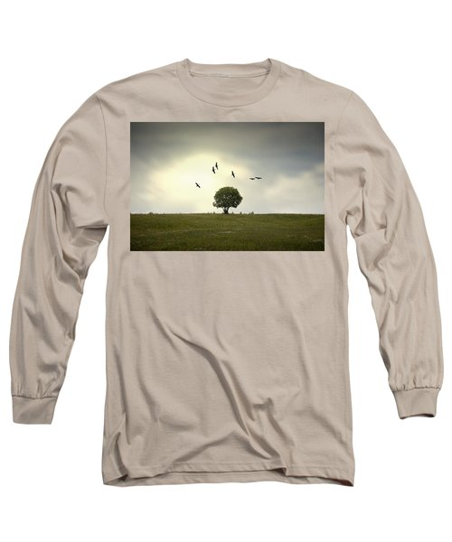 Wings Over The Tree Long Sleeve T-Shirt by Alfio Finocchiaro