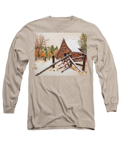 Winter - Barn - Snow In Nevada Long Sleeve T-Shirt by Jan Dappen