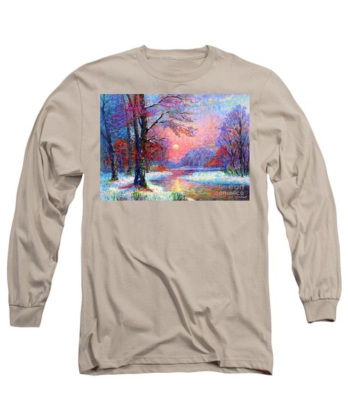 Winter Nightfall, Snow Scene  Long Sleeve T-Shirt