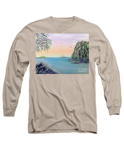 Winter On Lake Ponchartrain Long Sleeve T-Shirt by Alys Caviness-Gober