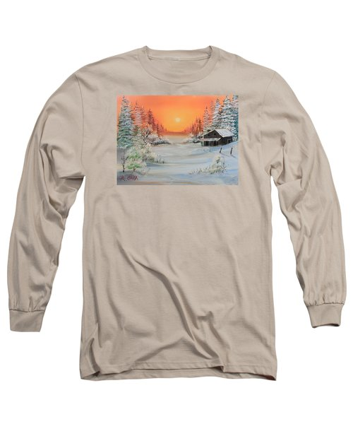 Winter Scene Long Sleeve T-Shirt by Remegio Onia
