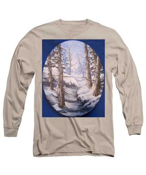 Long Sleeve T-Shirt featuring the painting Winter Snow by Megan Walsh