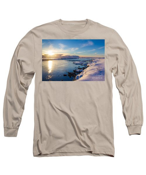 Long Sleeve T-Shirt featuring the photograph Winter Sunset In Iceland by Peta Thames