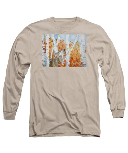 Long Sleeve T-Shirt featuring the painting Wolf Call by Ellen Levinson