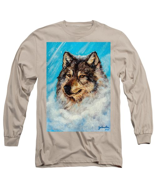 Long Sleeve T-Shirt featuring the painting Wolf In A Snow Storm by Bob and Nadine Johnston