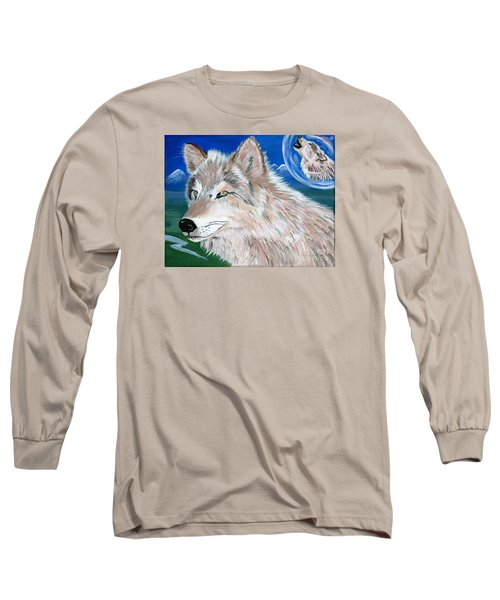 Long Sleeve T-Shirt featuring the painting Wolves by Phyllis Kaltenbach