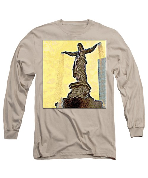 Woman And Flowing Water Sculpture At Fountain Square Long Sleeve T-Shirt by Kathy Barney