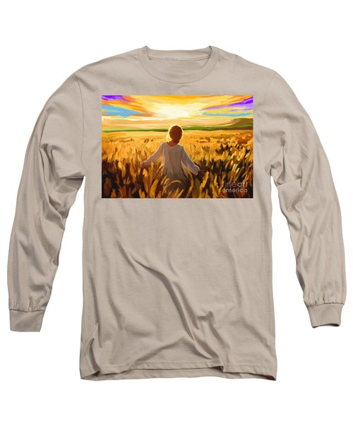 Woman In A Wheat Field Long Sleeve T-Shirt