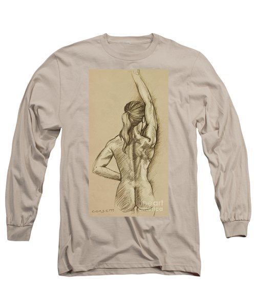 Long Sleeve T-Shirt featuring the drawing Woman Sketch by Rob Corsetti