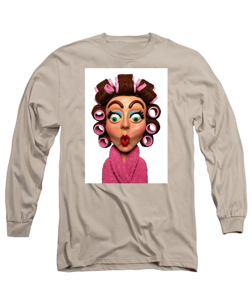 Woman Wearing Curlers Long Sleeve T-Shirt