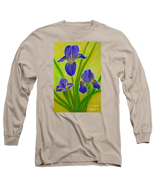 Wonderful Iris Flowers 3 Long Sleeve T-Shirt by Oksana Semenchenko