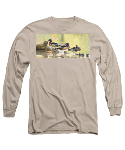 Wood-ducks Panorama Long Sleeve T-Shirt by Mircea Costina Photography