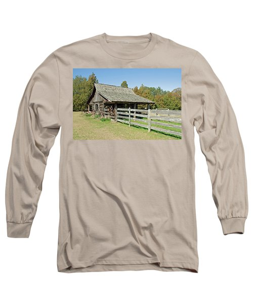 Long Sleeve T-Shirt featuring the photograph Wooden Barn by Charles Beeler