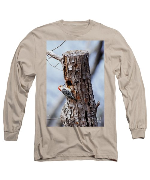 Woodpecker And Starling Fight For Nest Long Sleeve T-Shirt