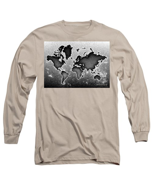 World Map Novo In Black And White Long Sleeve T-Shirt by Eleven Corners