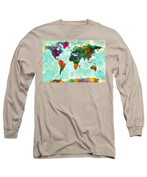 World Map Splatter Design Long Sleeve T-Shirt