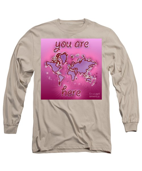 World Map You Are Here Amuza In Purple And Pink Long Sleeve T-Shirt by Eleven Corners
