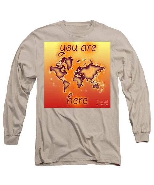 World Map You Are Here Amuza In Red Yellow And Orange Long Sleeve T-Shirt by Eleven Corners