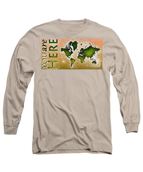 World Map You Are Here Novo In Green And Orange Long Sleeve T-Shirt by Eleven Corners