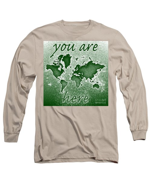 World Map You Are Here Novo In Green Long Sleeve T-Shirt by Eleven Corners