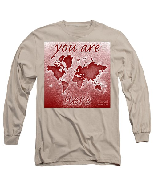 World Map You Are Here Novo In Red Long Sleeve T-Shirt by Eleven Corners