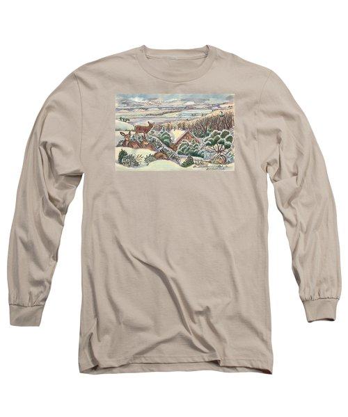 Wyoming Christmas Long Sleeve T-Shirt by Dawn Senior-Trask