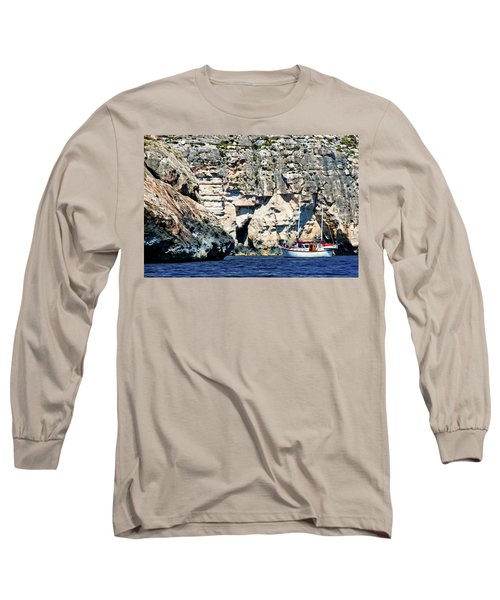 Yacht In Sea Near Popeye Village Long Sleeve T-Shirt