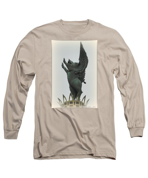 Yay Pigs Do Fly Long Sleeve T-Shirt by Kathy Barney
