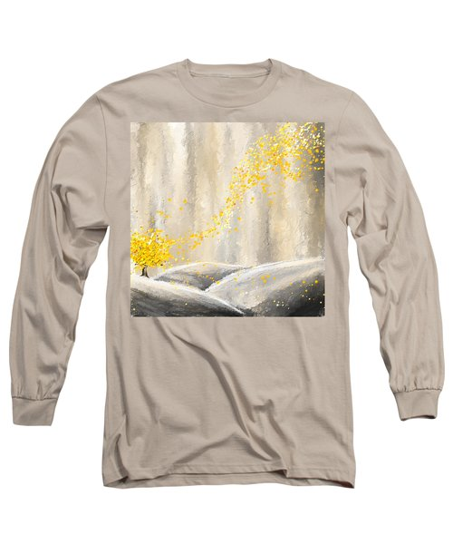 Yellow And Gray Landscape Long Sleeve T-Shirt